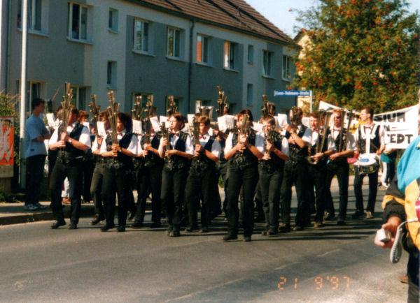 21.09.1997 -  125 Jahre Turnen in Mellingen - Festumzug,   Fanfahrenzug Kleinreinsdorf